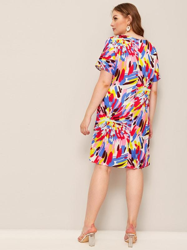 Plus Size Splash Print Tunic Dress