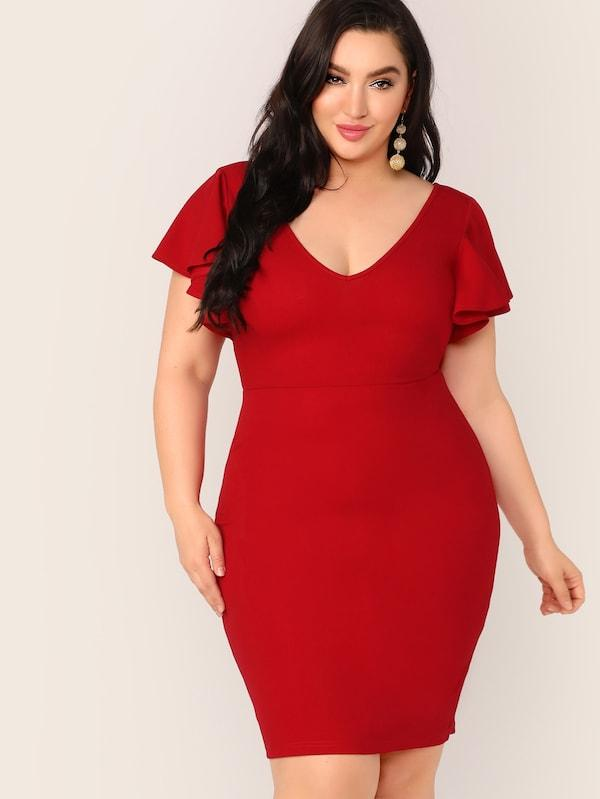 Plus Size Zip Back Ruffle Trim Bodycon Dress
