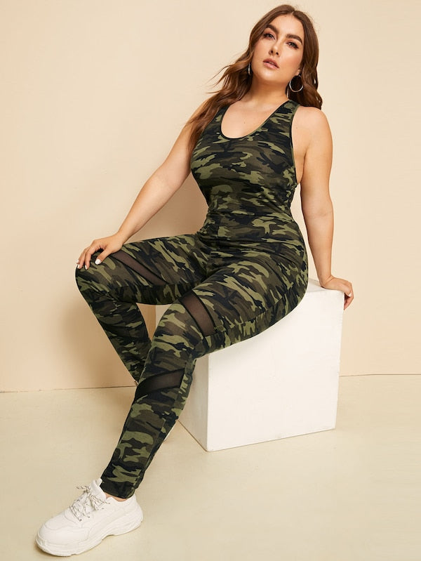 Plus Size Mesh Insert Crisscross Back Camo Jumpsuit