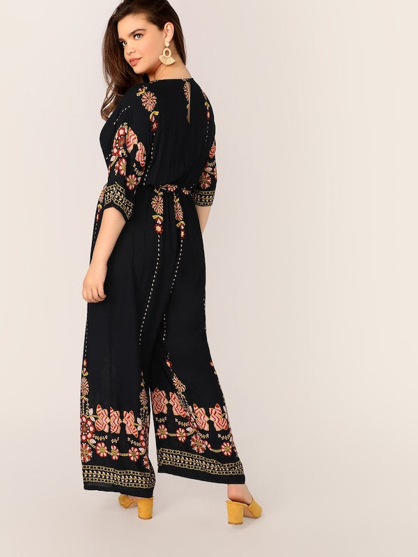 Plus Size Surplice Neck Tribal Floral Print Palazzo Jumpsuit