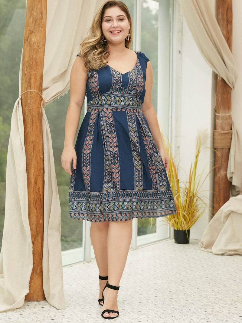 Plus Size Tribal Print V-Neck Midi Dress
