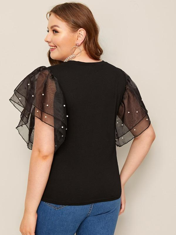 Plus Size Contrast Pearl Beaded Mesh Cuff Tee