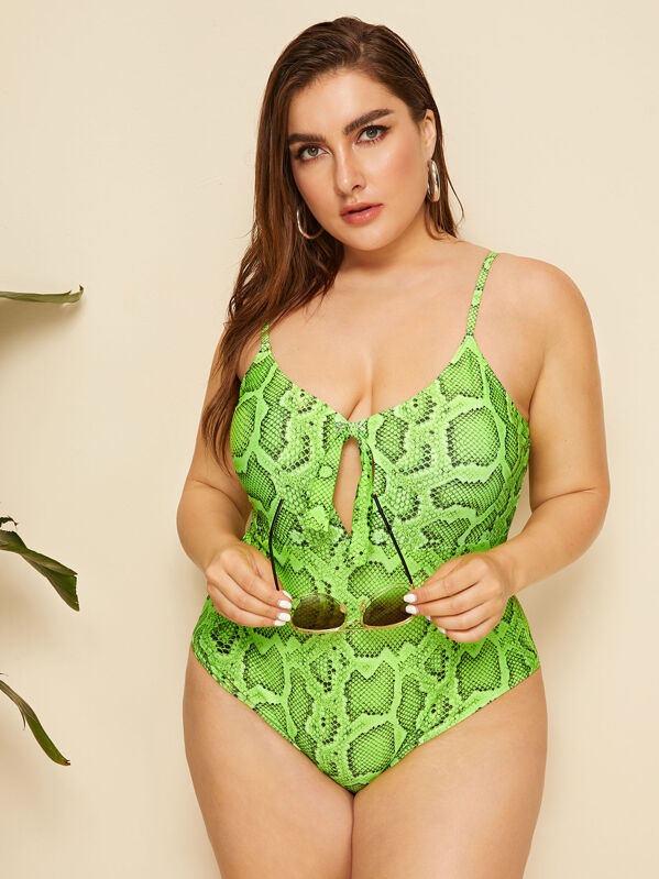 Plus Size Snakeskin Cutout Knot Front One Piece Swimwear
