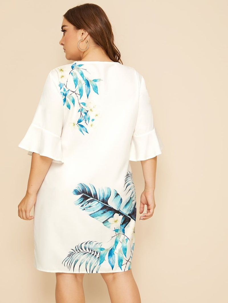 Plus Size Tie Neck Tropical Print Dress