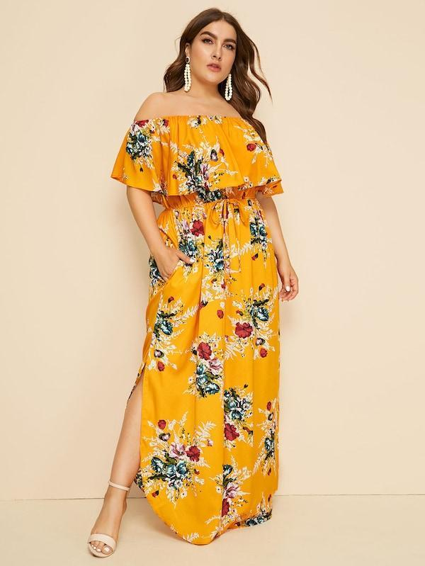 Plus Size Floral Print Drawstring Waist Off Shoulder Dress