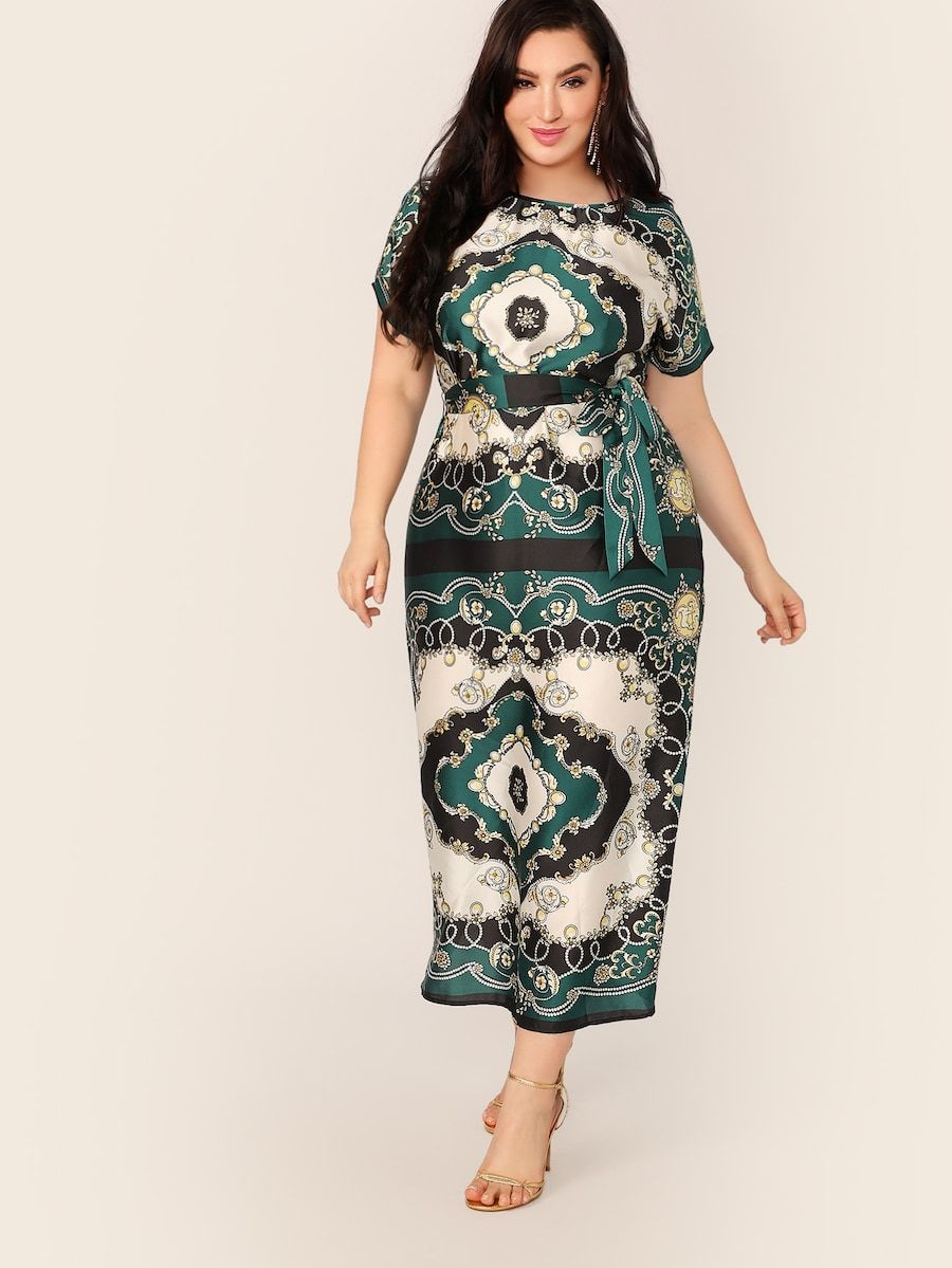 Plus Size Scarf Print Self Belted Satin Dress