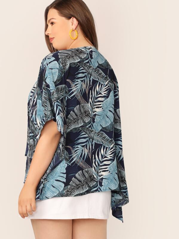 Plus Size Tropical Print Open Front High-Low Hem Kimono