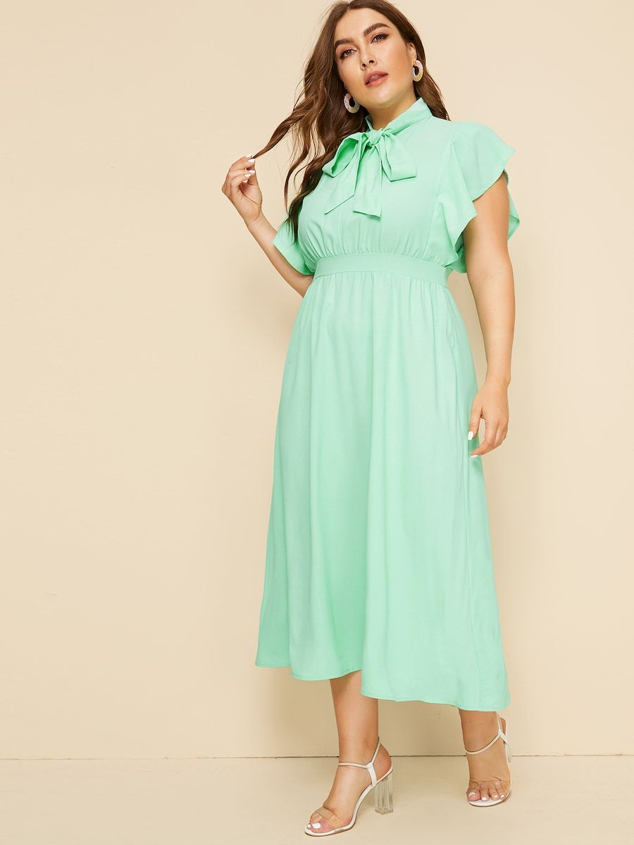 Plus Size Butterfly Sleeve Tie Neck Dress