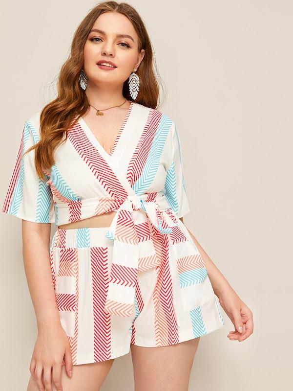 Plus Size Chevron Print Wrap Blouse With Shorts