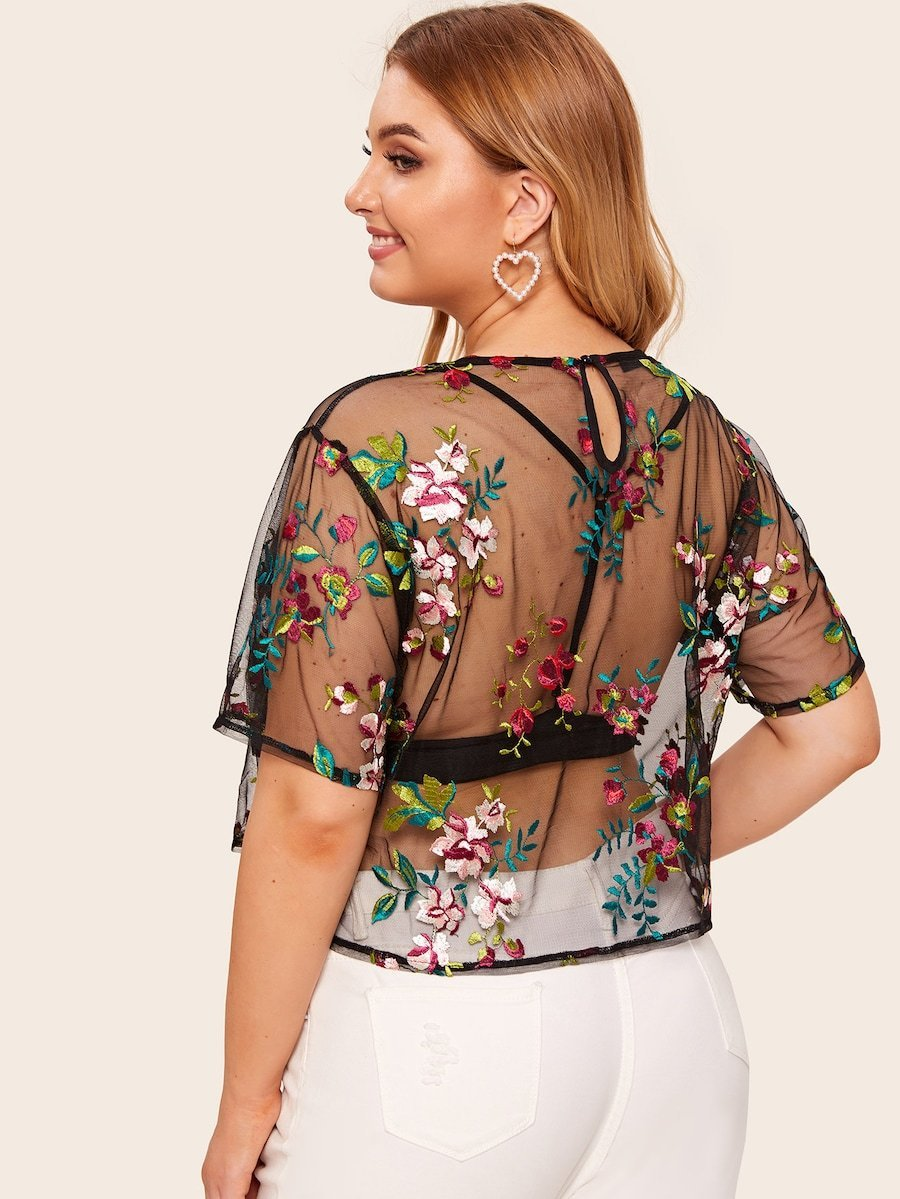 Plus Size Floral Embroidery Sheer Mesh Tee