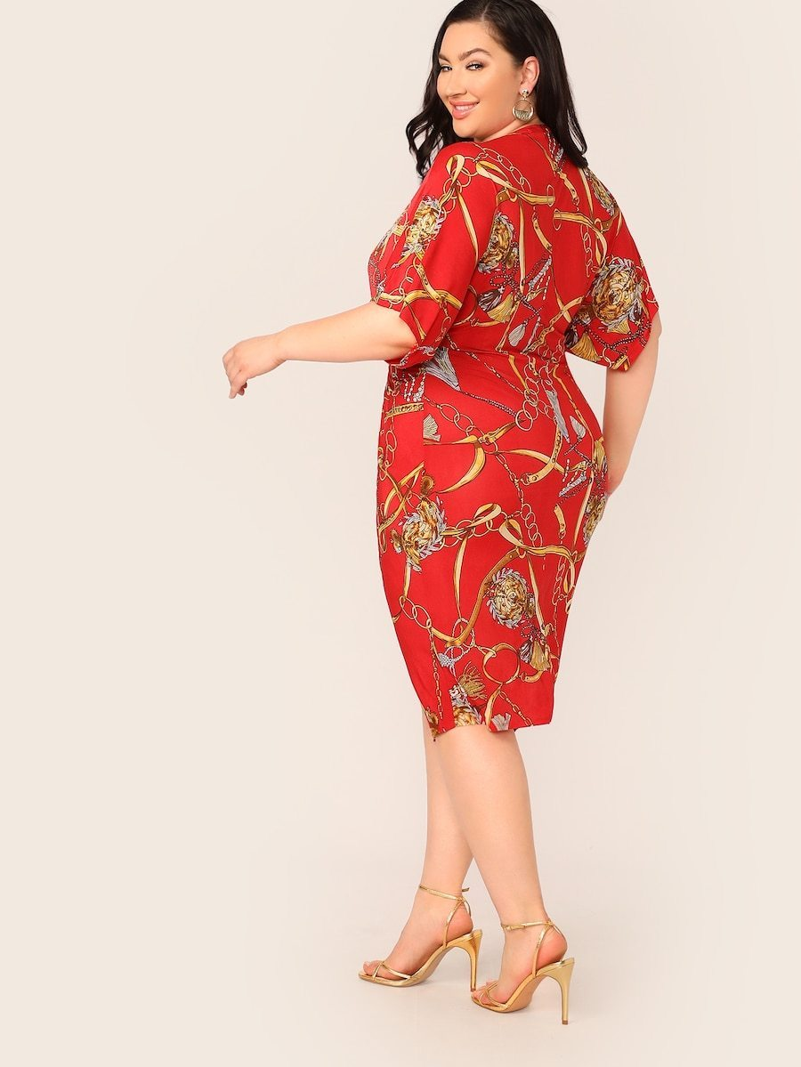 Plus Size Chain Print Twist Front Dress