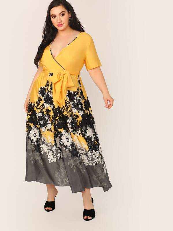 Plus Size Floral Print Wrap Belted Dress