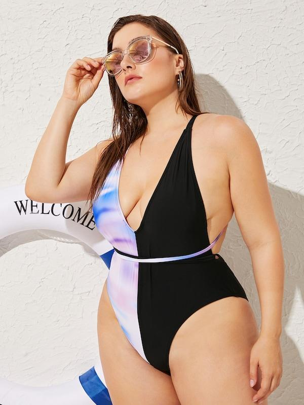 Plus Size Criss Cross Backless One Piece Swimwear