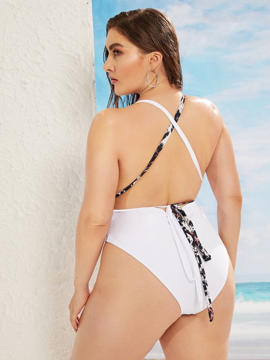 Plus Size Leopard Criss Cross Backless One Piece Swimsuit