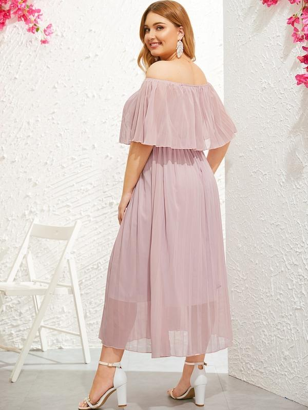 Plus Size Off Shoulder Pleated Dress