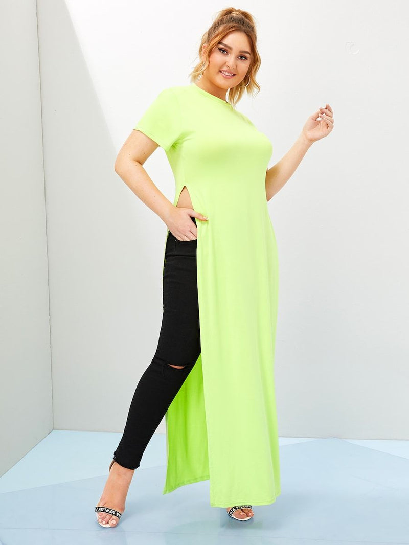 Plus Size Neon Lime Split Side Longline Tee