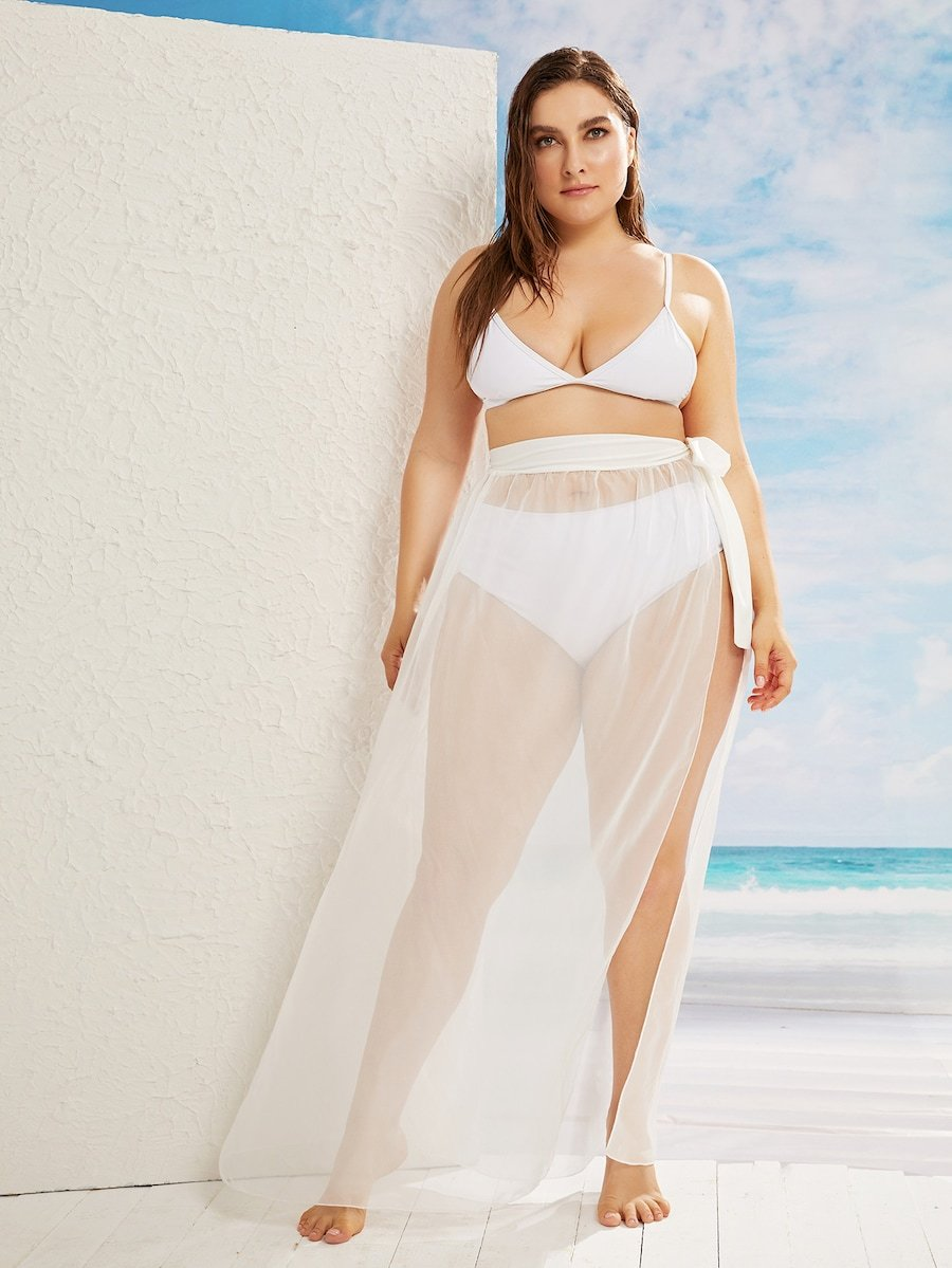 Plus Size Tie Waist Split Side Skirt Without Bikini Set