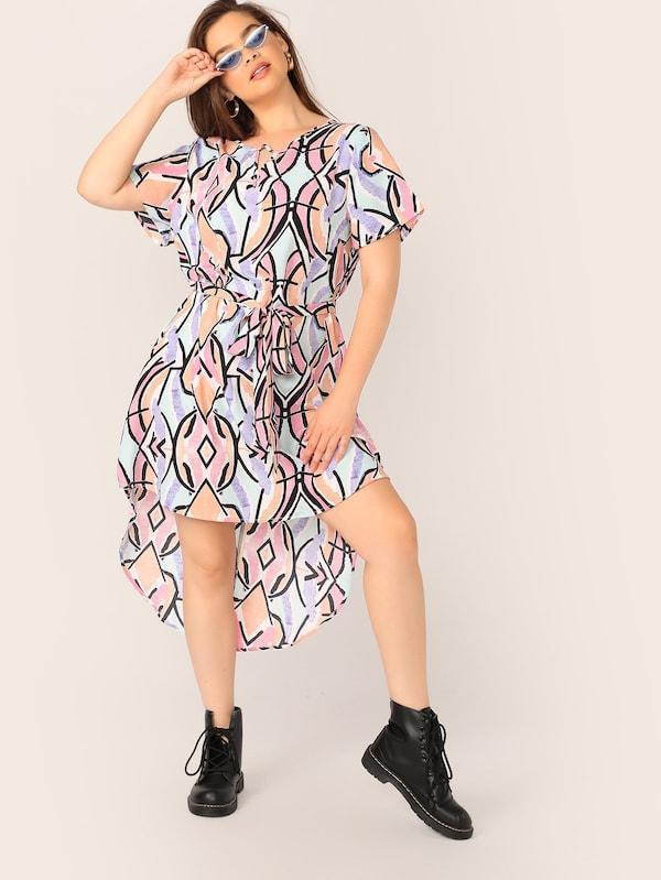 Plus Size V-Cut Geo Print Belted High Low Dress