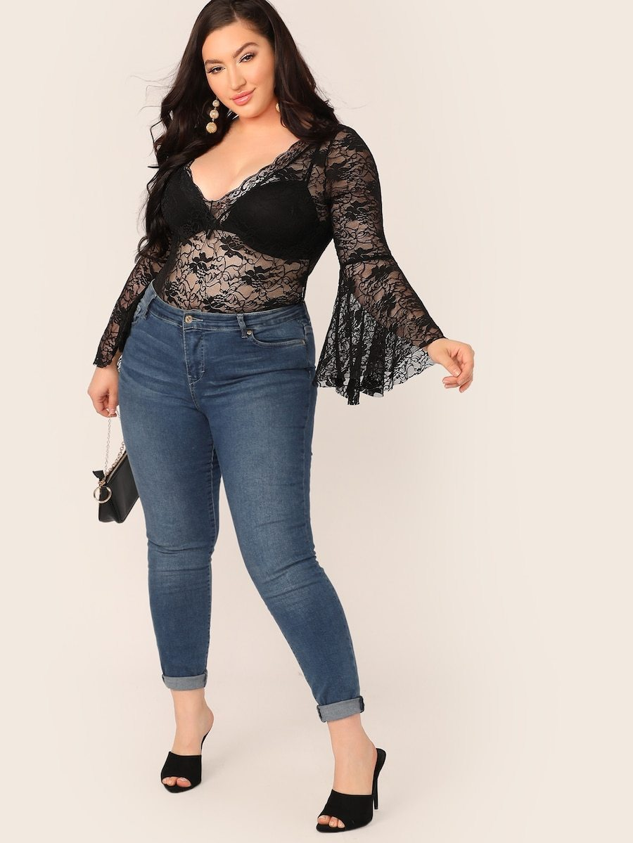 Plus Size Bell Sleeve Sheer Lace Bodysuit Without Bra