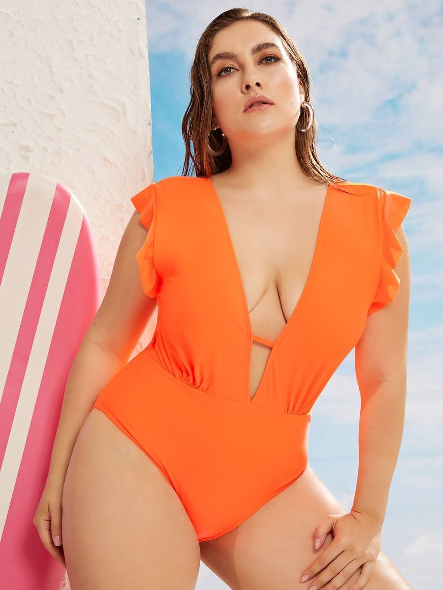 Plus Size Ruffle Trim One Piece Swimwear