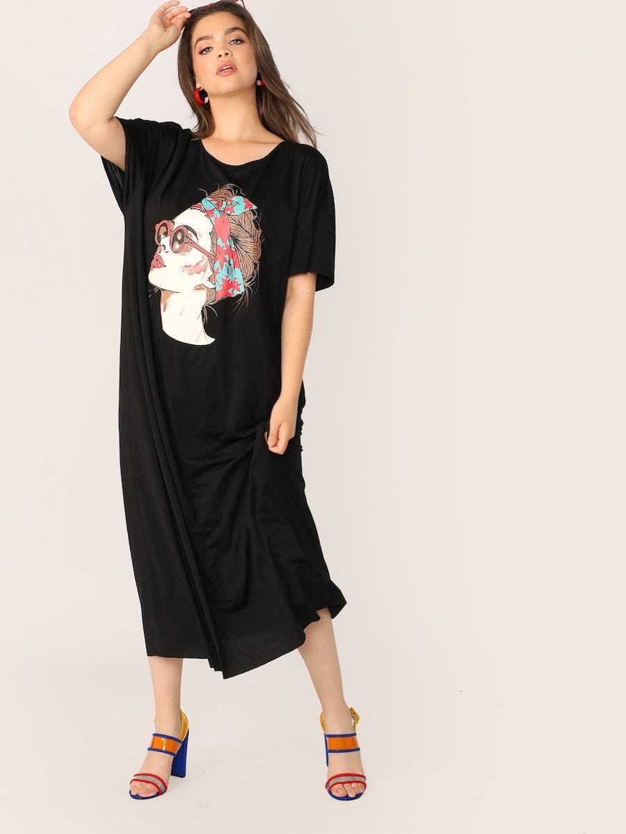 Plus Size Figure Print Tee Dress
