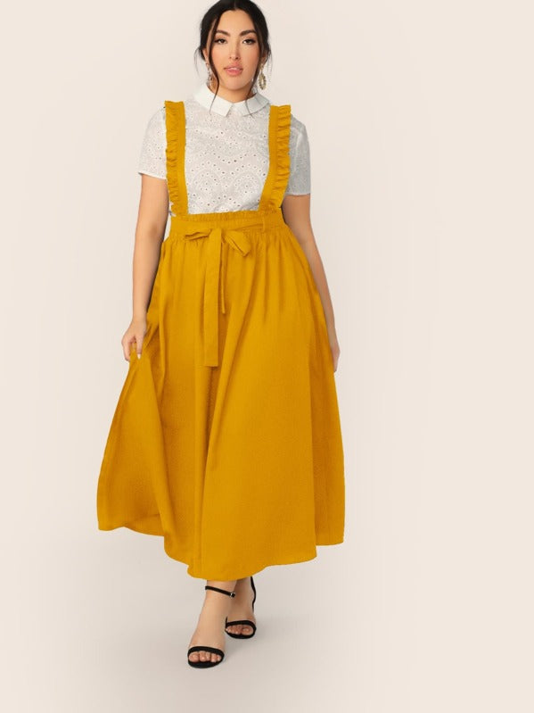 Plus Size Paperbag Waist Self Belted Skirt With Ruffle Strap