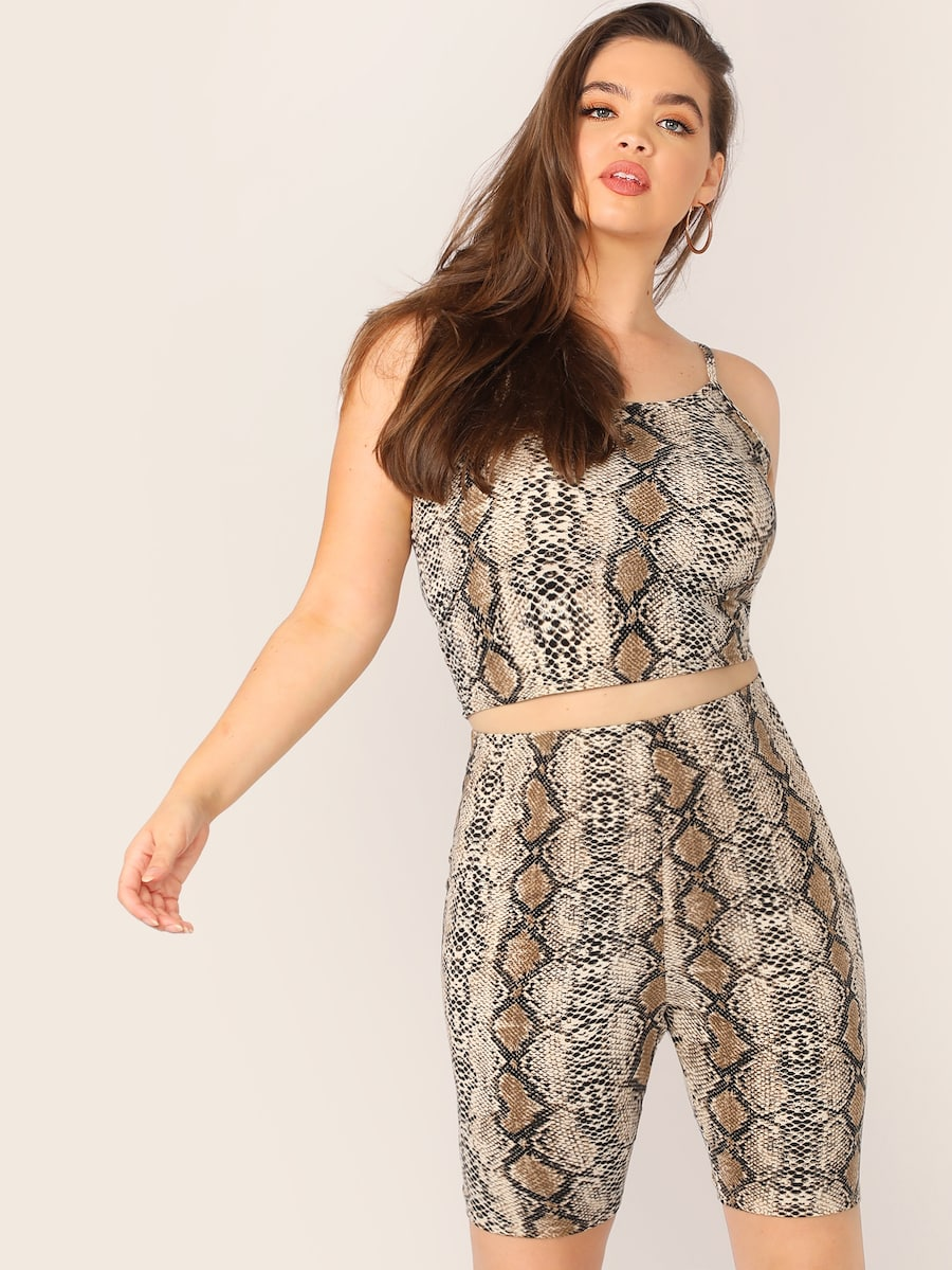 Plus Size Snakeskin Print Cami Top & Cycling Shorts Set