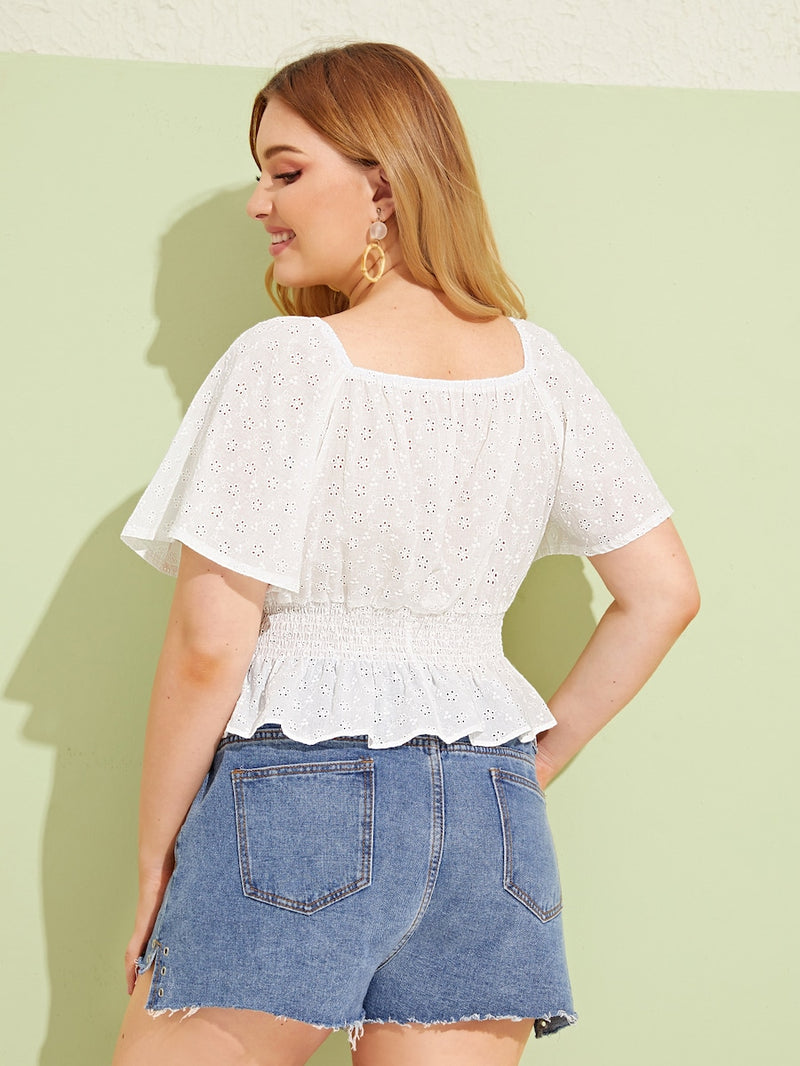 Plus Size Eyelet Embroidered Lace Up Shirred Blouse