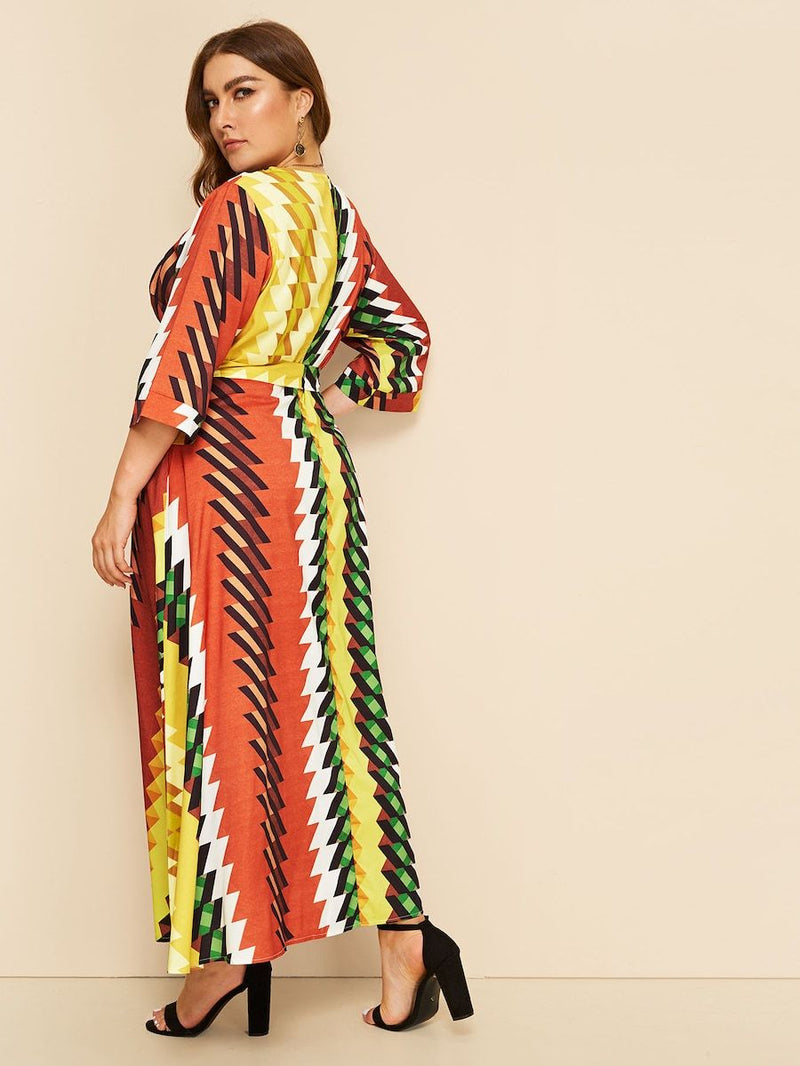 Plus Size Surplice Neck Geo Print Belted Dress