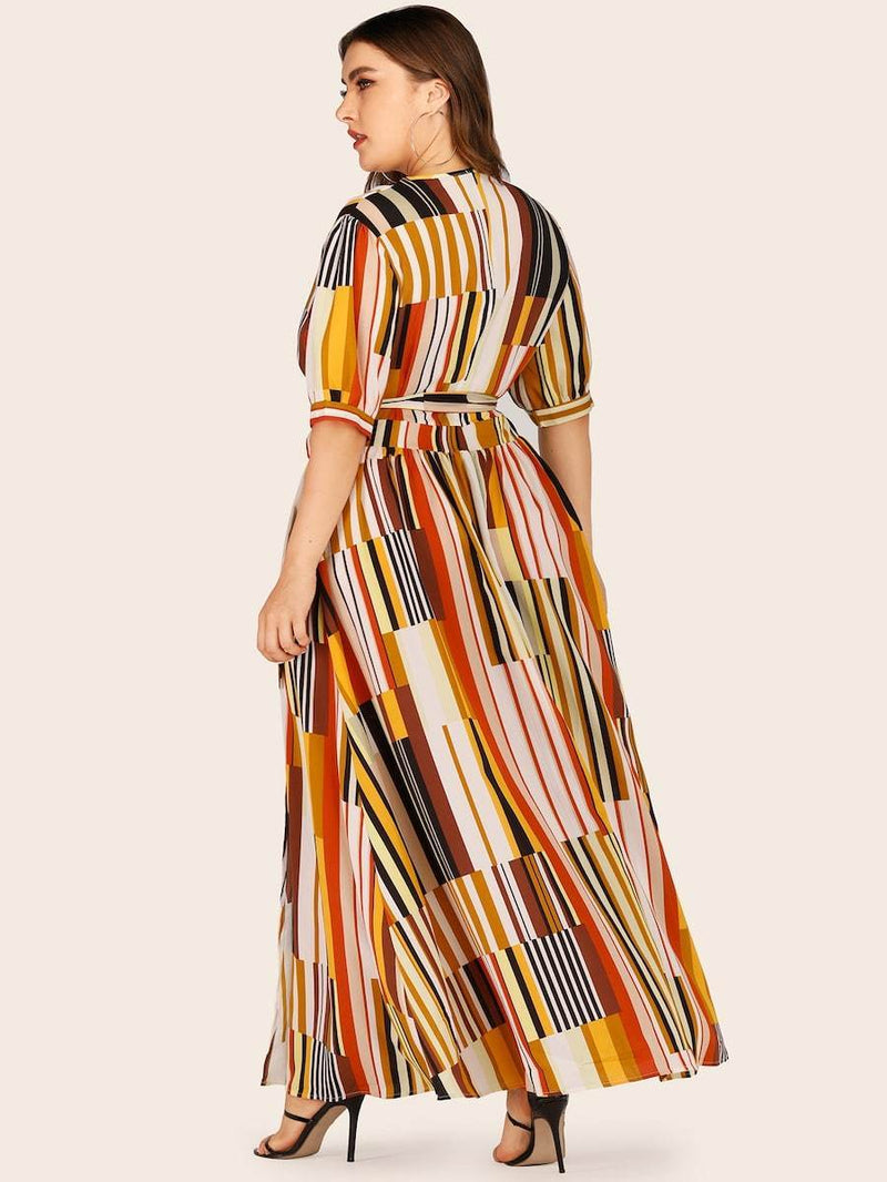 Plus Size Surplice Front Striped Dress