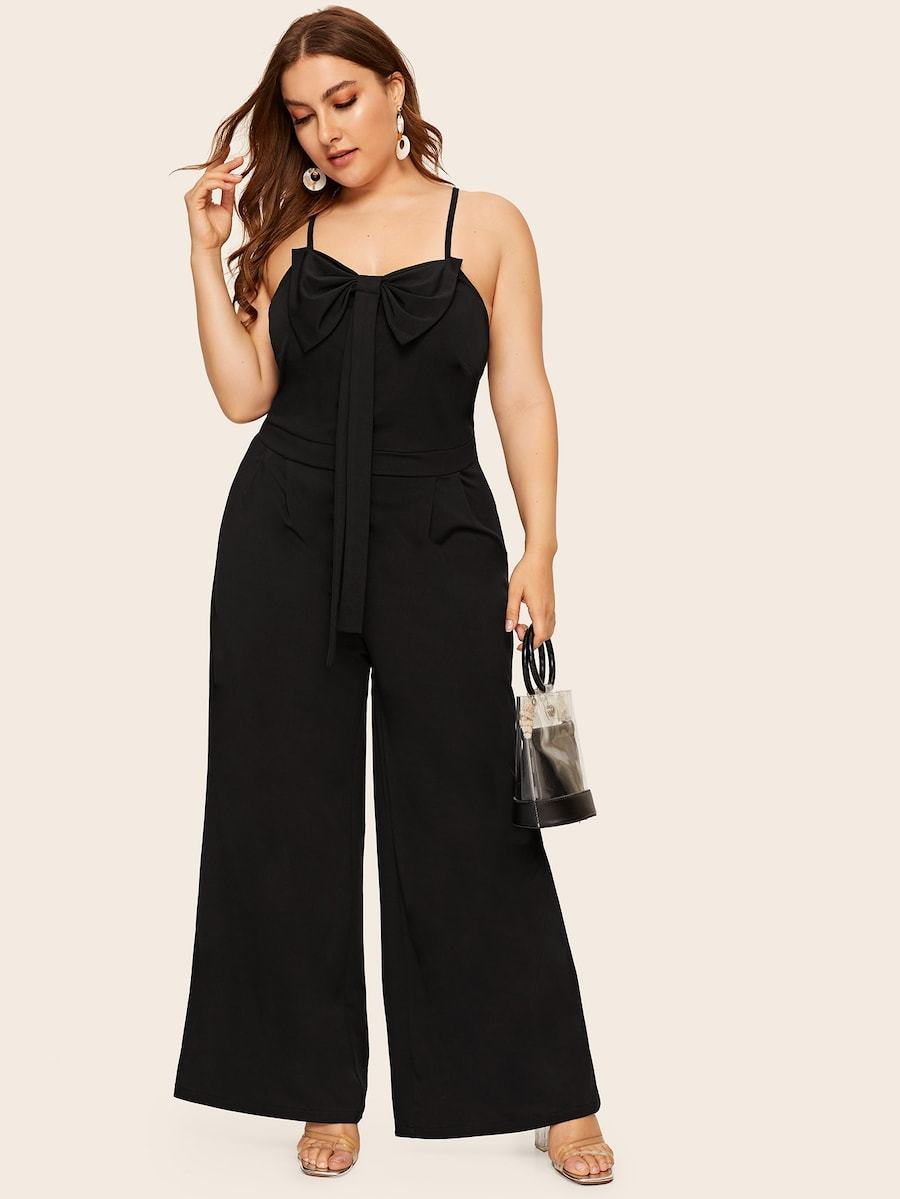 Plus Size Wide Leg Bow Cami Jumpsuit
