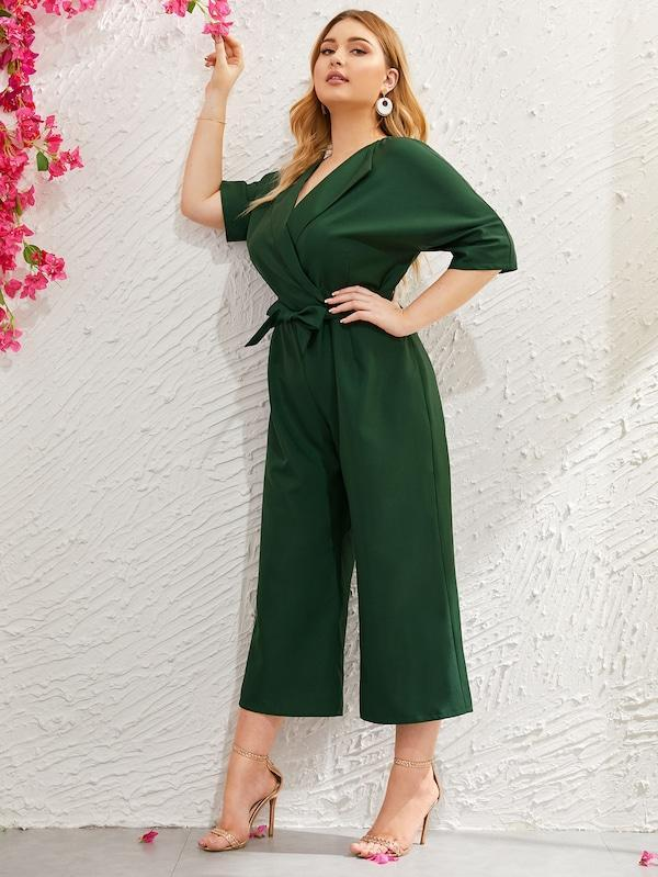Plus Size Wide Leg Self Tie Jumpsuit