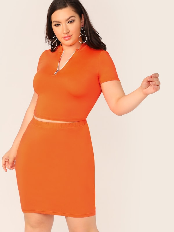 Plus Size Neon Orange Half Zip Top & Skirt Set