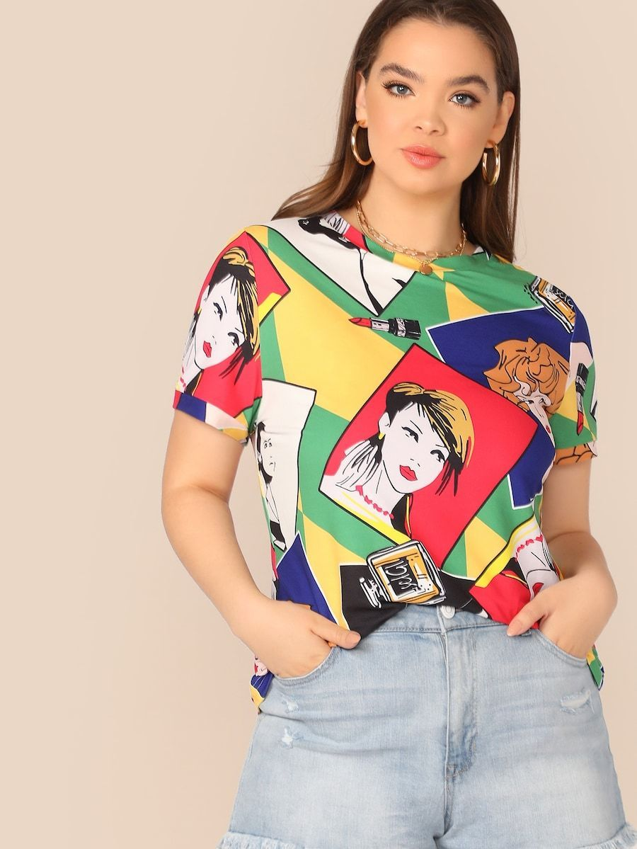 Plus Size Allover Figure Print Top