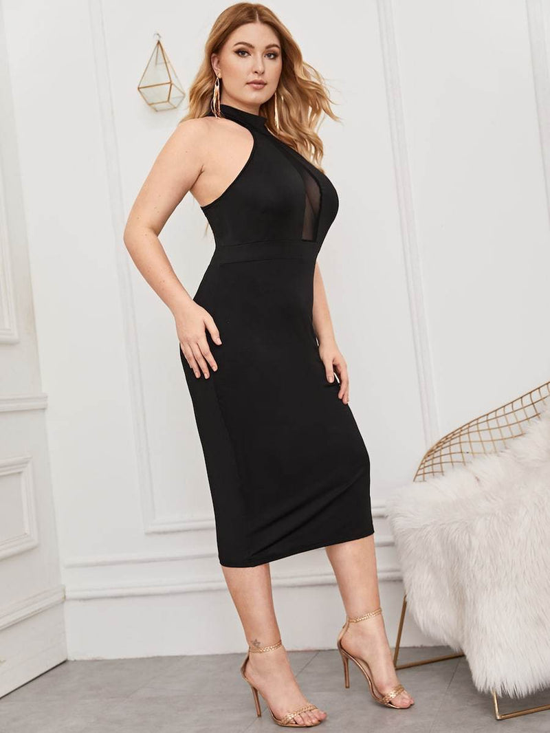 Plus Size Contrast Mesh Button Keyhole Back Halter Dress