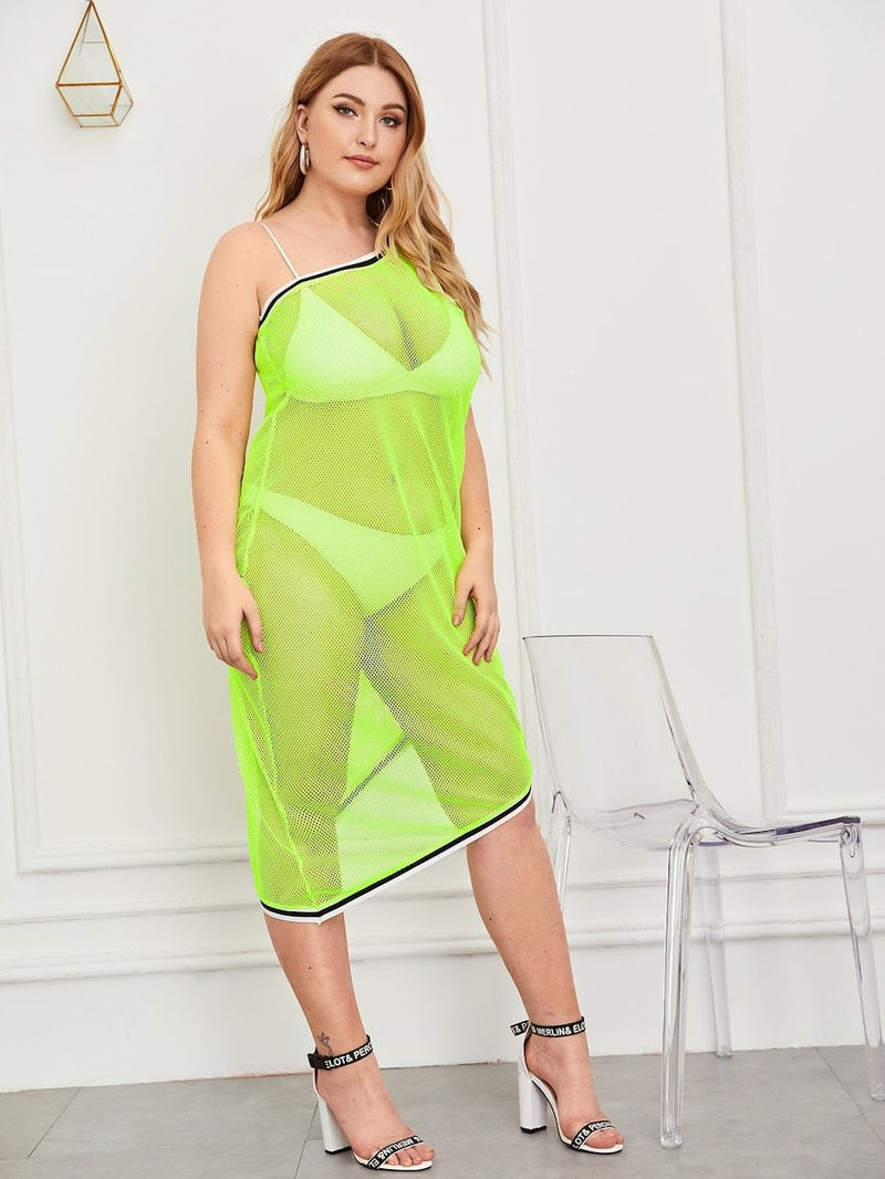 Plus Size Neon Lime Contrast Striped Fishnet Dress