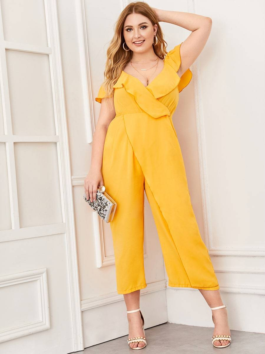 Plus Size Surplice Front Cold Shoulder Ruffle Jumpsuit