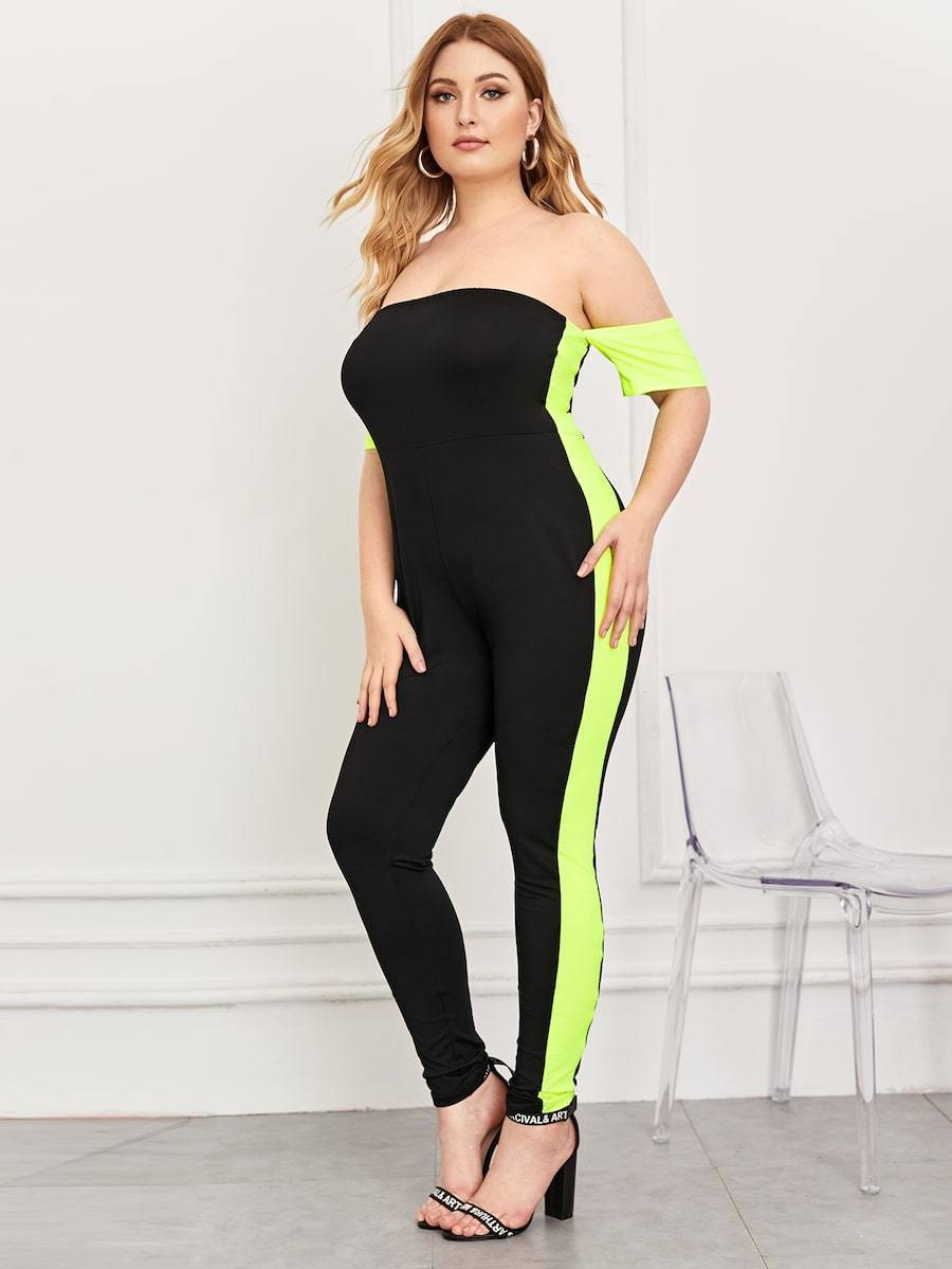 Plus Size Contrast Neon Lime Off Shoulder Jumpsuit
