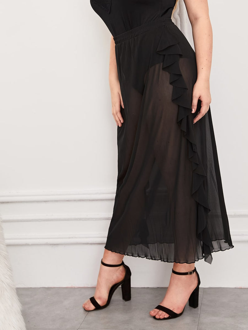 Plus Size Mesh Ruffle Side Skirt