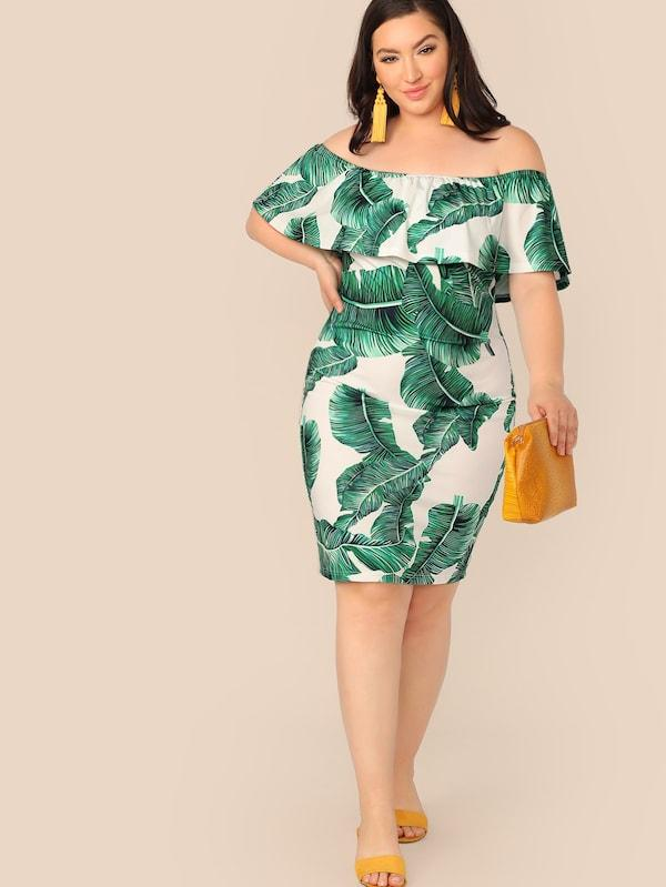 Plus Size Tropical Print Flounce Foldover Bardot Dress