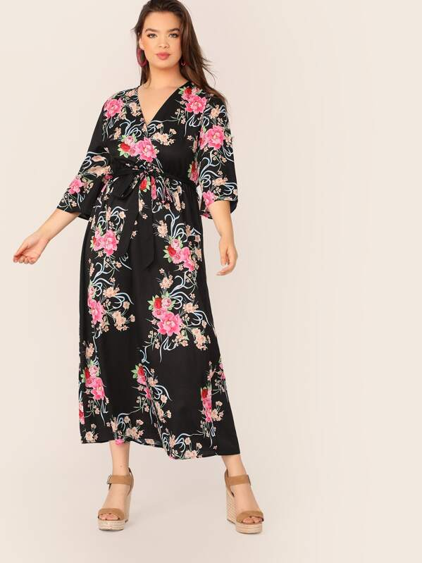 Plus Size Floral Print Self Belted Wrap Dress