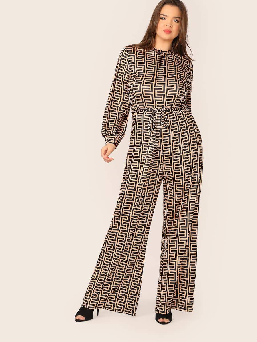 Plus Size Lantern Sleeve Belted Wide Leg Greek Fret Jumpsuit