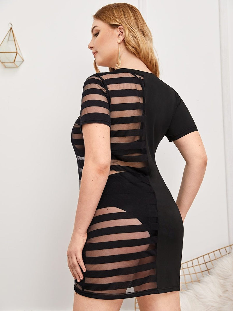 Plus Size Contrast Mesh Sheer Dress Without Underwear