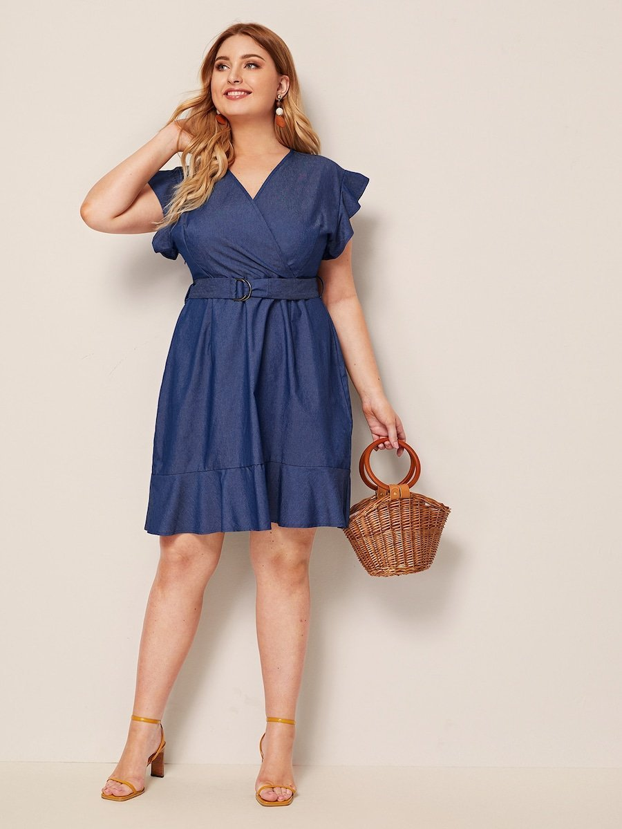 Plus Size Belted Ruffle Hem Surplice Denim Dress