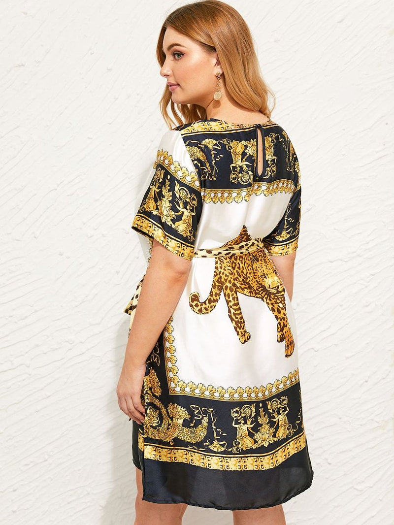 Plus Size Leopard And Scarf Print Belted Satin Dress