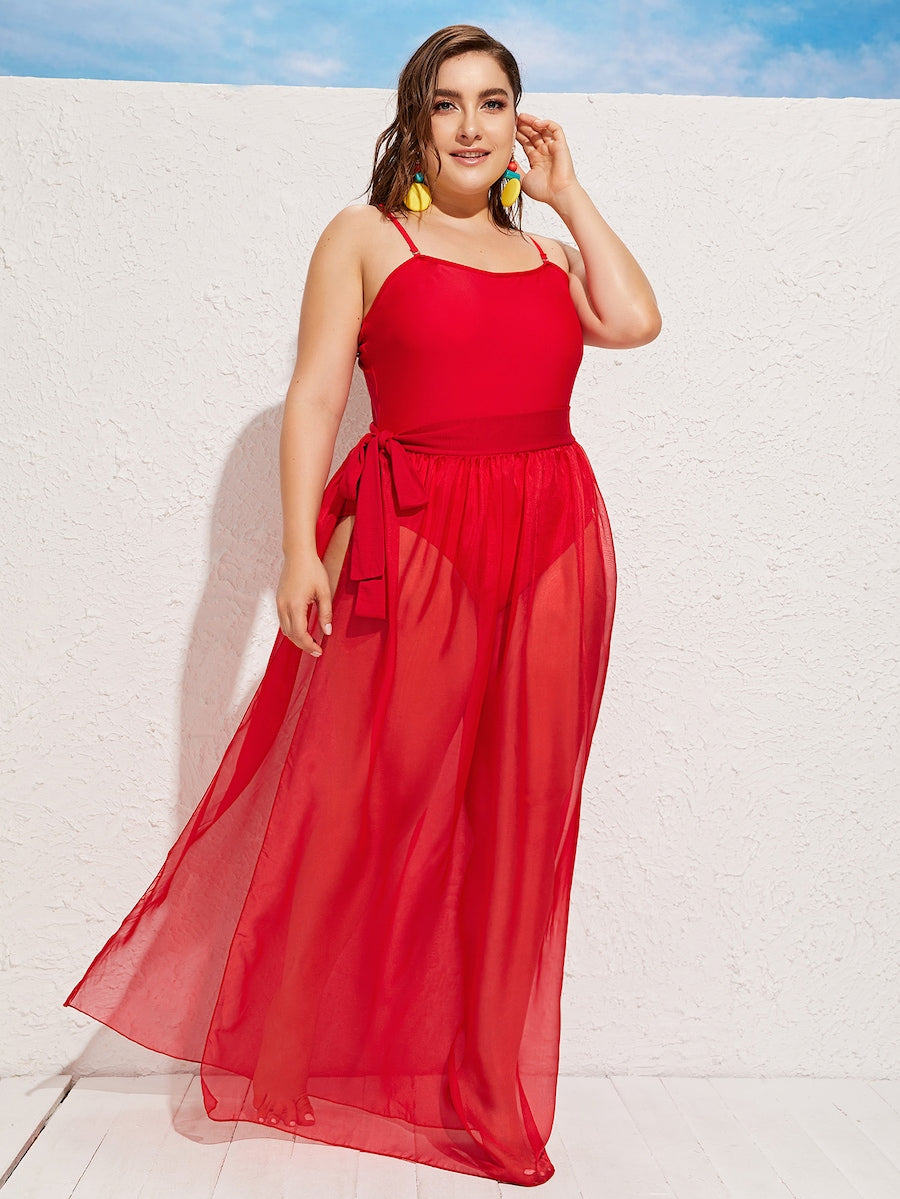 Plus Size Split Side Sheer Skirt Without One Piece
