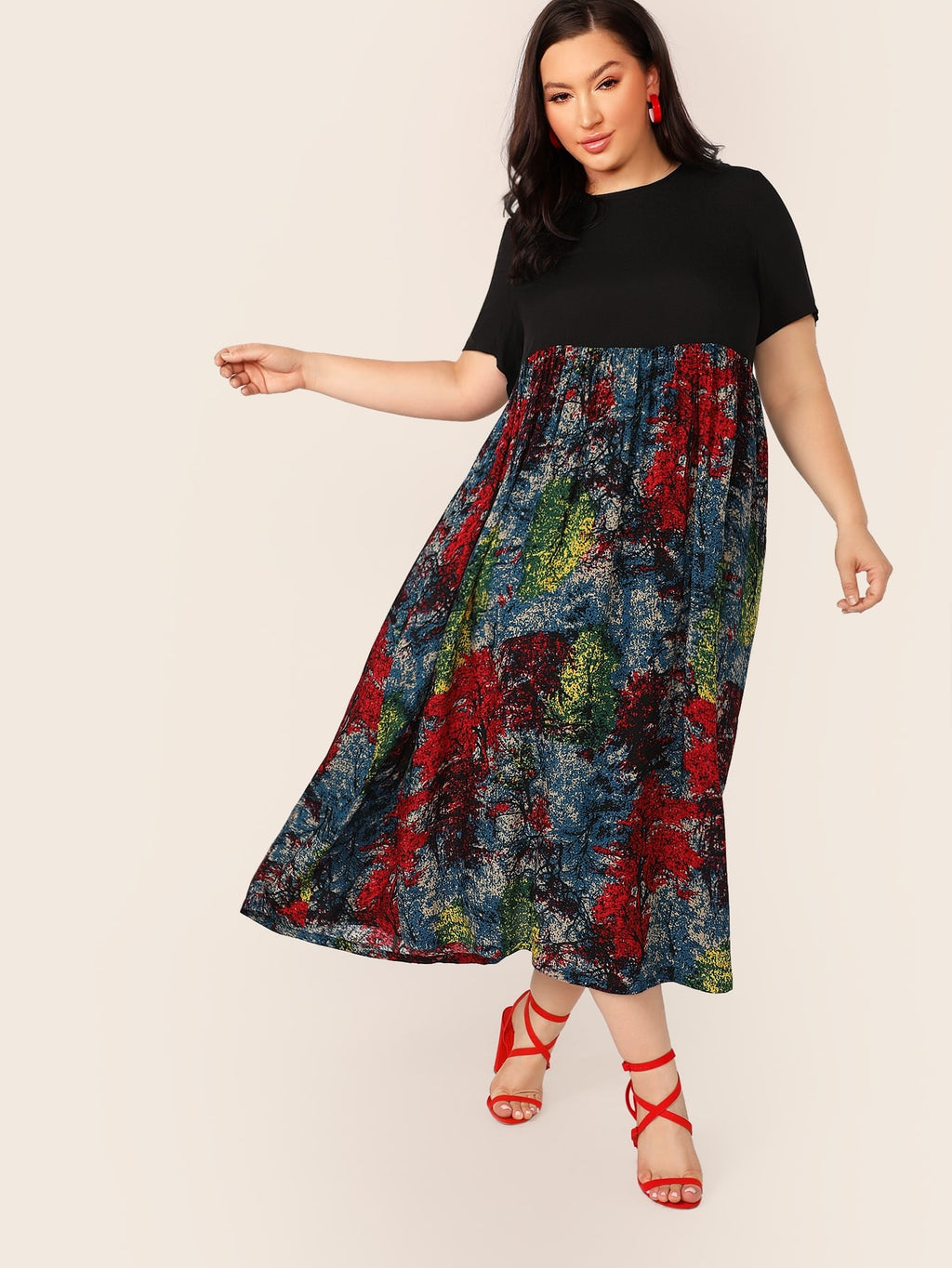 Plus Size Watercolor Pleated Flowy Skirt Dress