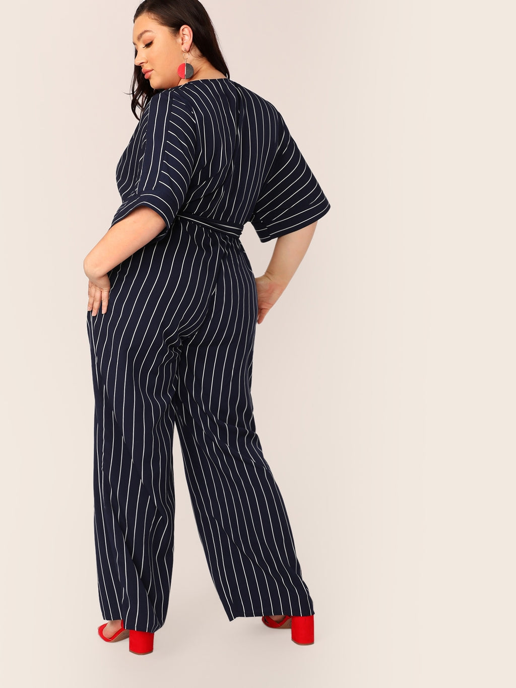 Plus Size Striped Surplice Neck Belted Palazzo Jumpsuit