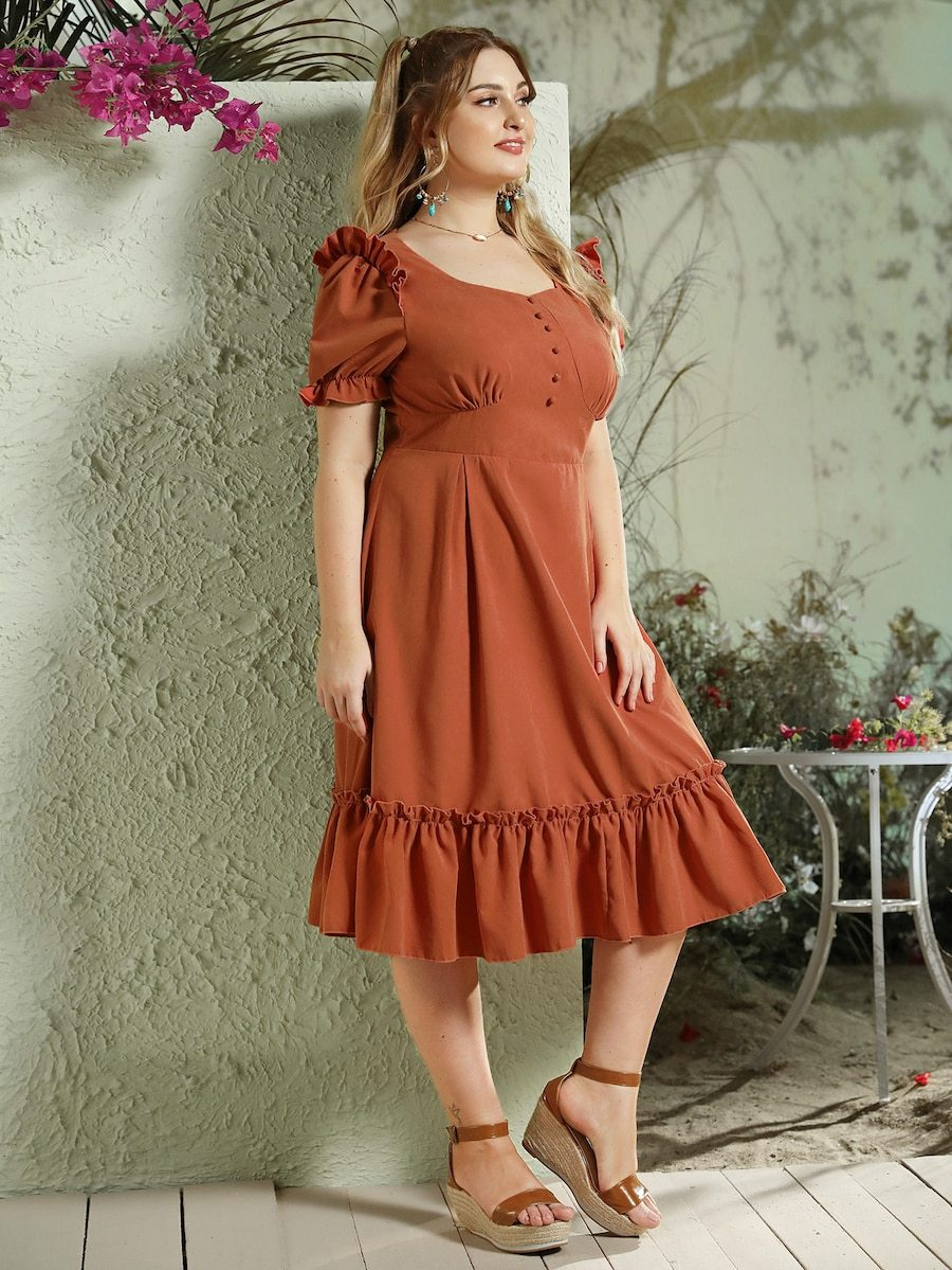Plus Size Button Front Flippy Hem Bustier Dress