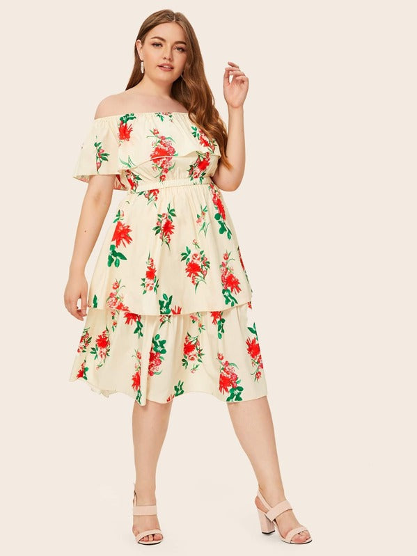 Plus Size Floral Print Bardot Layered Ruffle Dress